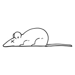 black and white cartoon dead rat