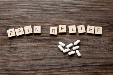 The words Pain Relief along with paracetamol tablets
