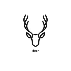 Deer head line icon. Vector illustration.