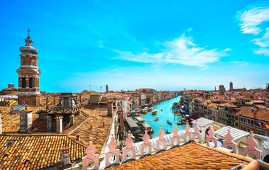 Venice grand canal and Rialto bridge aerial view. Italy