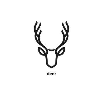 Deer head line icon. Vector illustration.
