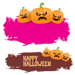 Halloween web pink grunge Banner or poster with Halloween scary pumpkins isolated on white background . Funky kids Halloween banner with space for greeting text or sale