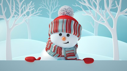 3d render, cute snowman smiling, looking at camera, holding blank banner, white page, Christmas background, New Year, greeting card, space for text, winter landscape