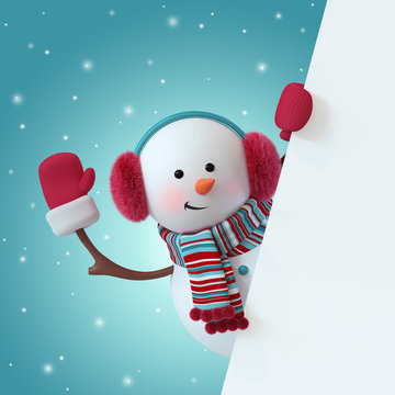 3d render, christmas snowman character, wearing furry headphones, scarf, waving hand, blank banner, greeting card template, space for text, winter holiday clip art, snowfall, funny toy, illustration