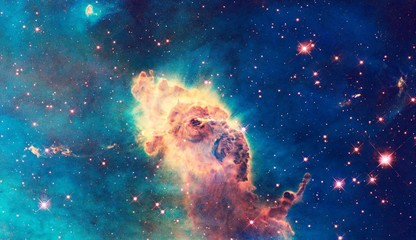 Color-Enhanced Galaxy Universe Carina Nebula Elephant Head Image With Elements From NASA