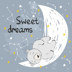 Vector illustration with bear fox and moon. Sweet dreams.