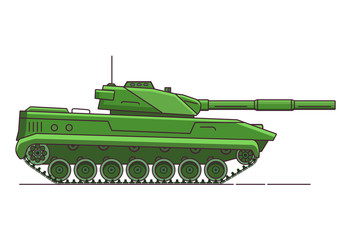 Army tank. Armored vehicle. Military artillery vehicle. Flat line art vector.Cartoon war green camouflage transport.Gun in a tower.