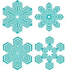 Set of simple geometric design elements, turquoise shapes on white background, collection of beautiful decorative patterns, vector illustration
