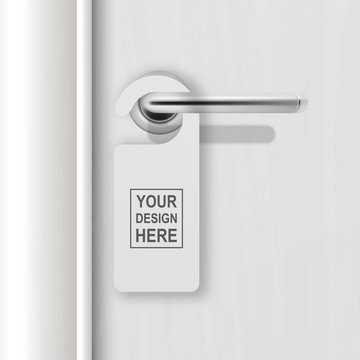 Vector realistic paper white blank door hanger on white realistic wooden door with metal silver handle background. Door hanger mockup. Design template for graphics. Full length door is in a clipping
