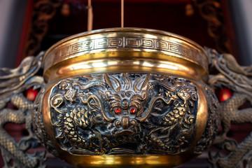 cauldron in temple in Taipei, Taiwan.