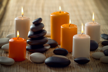 candle and stone spa treatment