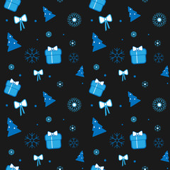 Vector Christmas pattern with gift, bow