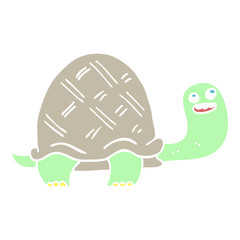 flat color illustration cartoon happy turtle