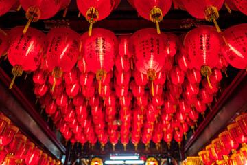 Red Lanterns in a temple in Taipei, Taiwan.