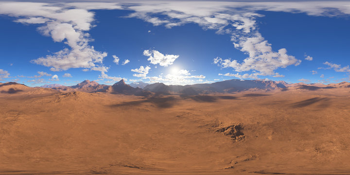Panorama of fantasy landscape sunset, environment 360 HDRI map. Equirectangular projection, spherical panorama. 3d rendering
