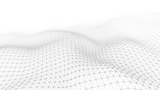 Wave white background. Abstract white futuristic background. Wave with connecting dots and lines on dark background. Wave of particles. 3D rendering.