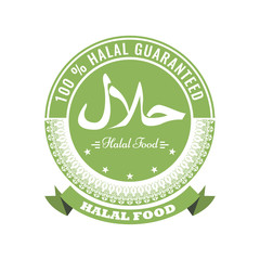 Halal sign symbol design. Vector Halal certificate tag with geometric ornament circle design and ribbon.