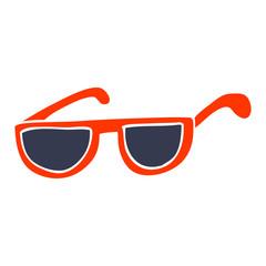 flat color illustration cartoon sunglasses