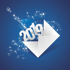 New Year 2019 greeting mail firework blue background