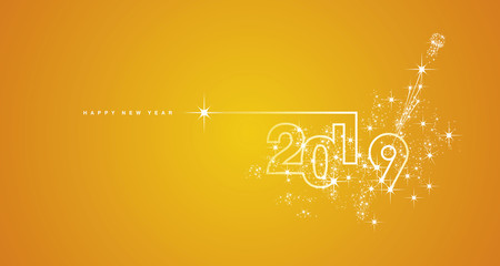 New Year 2019 line design firework champagne white orange yellow vector