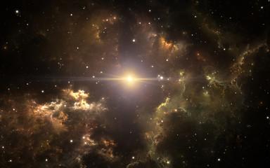 Fototapete - Space background with giant planetary nebula