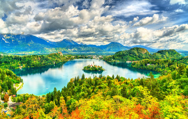 Panoramic view of Lake Bled with the island in Slovenia