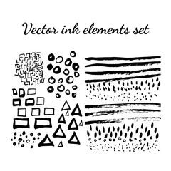 Vector ink hand drawn elements set