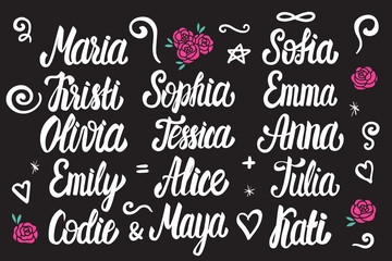 Set of female names. Lettering white vintage style isolated on dark background.