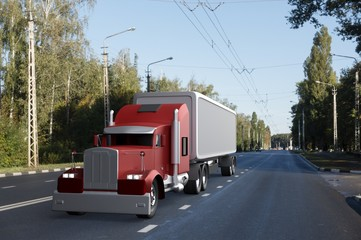 Truck on the road,3d render.