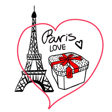 Fashion illustration of a gift box with a red bow in the frame. Merry Christmas Paris Eiffel Tower. Vector illustration of a hand drawing isolated on white background