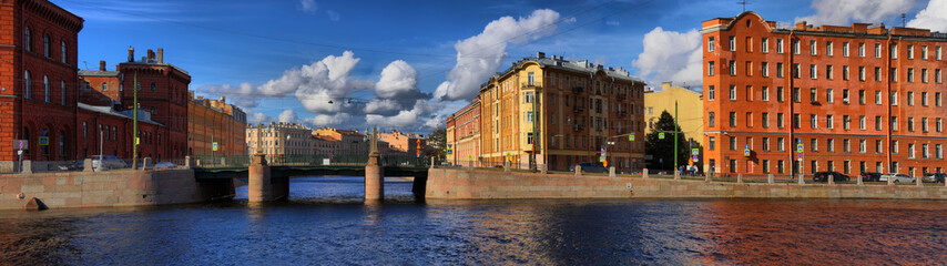 Panorama of the Embankment of the river Fontanka and the Griboedov canal in Saint Petersburg