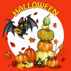 A poster on the theme of the Halloween holiday party. A pile of ripe pumpkins and berries of mountain ash and cute bat. Cartoon vector close-up illustration.