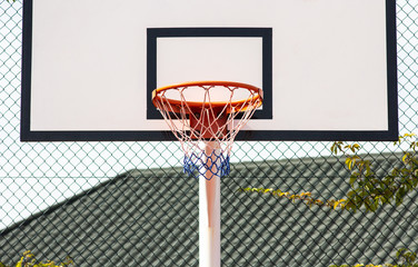 Street basketball.Basketball Hoop close-up, healthy lifestyle concept