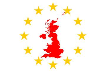 Brexit Eglandkarte und Europasternen Kreis