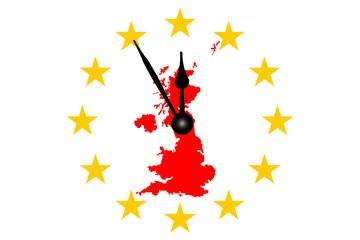 Brexit Englandkarte mit Europasternen Kreis und Uhr