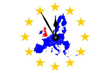 Brexit Europakarte mit Europasternen Kreis und Uhr