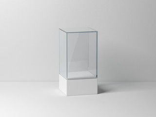 Glass box Mockup with white podium for product presentation
