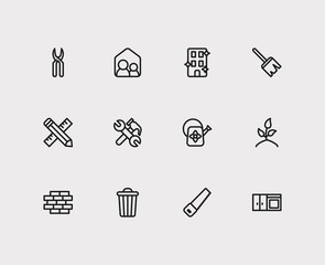 Housework icons set. Sweep and housework icons with housekeeper, watering flower and blossom. Set of dust for web app logo UI design.