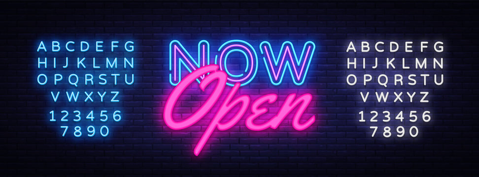 Now Open neon text vector design template. Now Open neon logo, light banner design element colorful modern design trend, night bright advertising, bright sign. Vector. Editing text neon sign