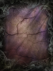 Cobwebs and smoke background for a Halloween violet cracked wall