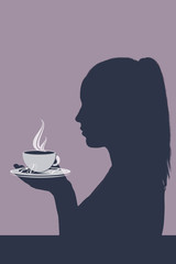 Silhouette of a girl profile holding a painted cup with a hot drink of coffee, tea, art collage