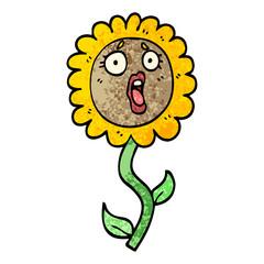 grunge textured illustration cartoon shocked sunflower