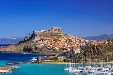 Beautiful view of Castelsardo town, Sardinia island, Italy. Popular travel destination