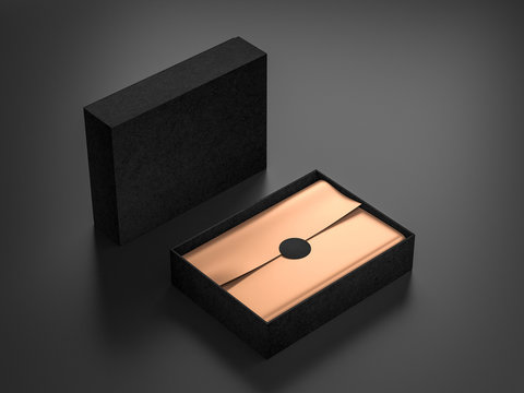 Opened Black Box Mockup with golden wrapping paper and label