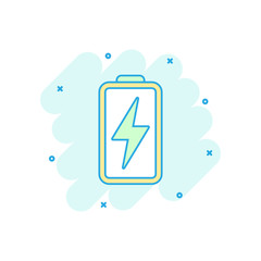 Cartoon colored battery icon in comic style. Battery power illustration pictogram. Accumulator sign splash business concept.