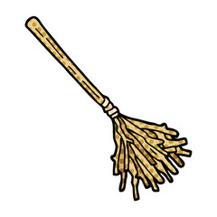 comic book style cartoon witches broomstick