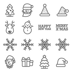 Vector Line Icon Set. Contains such Icons as Snowflake, Elf, Snowman, Santa Claus, Christmas Hat, Gift and more.