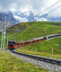 Swiss Mountain Train Returning to Alpine Station