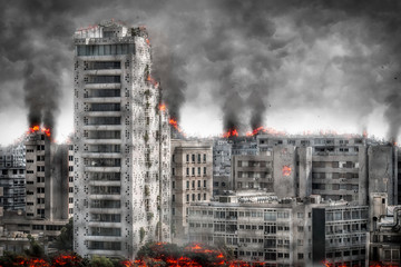 Apocalyptic cityscape. Digital illustration Wall mural