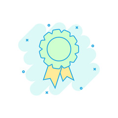 Cartoon colored badge ribbon icon in comic style. Award medal illustration pictogram. Certificate sign splash business concept.